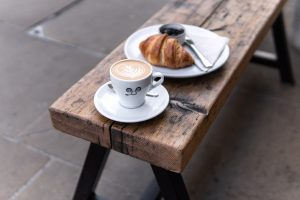 Caffe Latte and Croissant with homemade jam